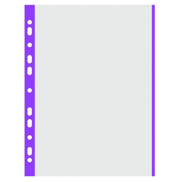 Folie protectie documente A4 40mic cristal margine mov 100 buc/set, DONAU
