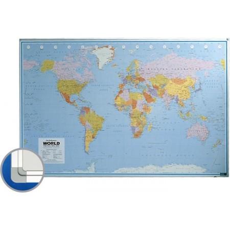 Harta magnetica Lumea (politica) 100x136cm rama aluminiu, SMIT