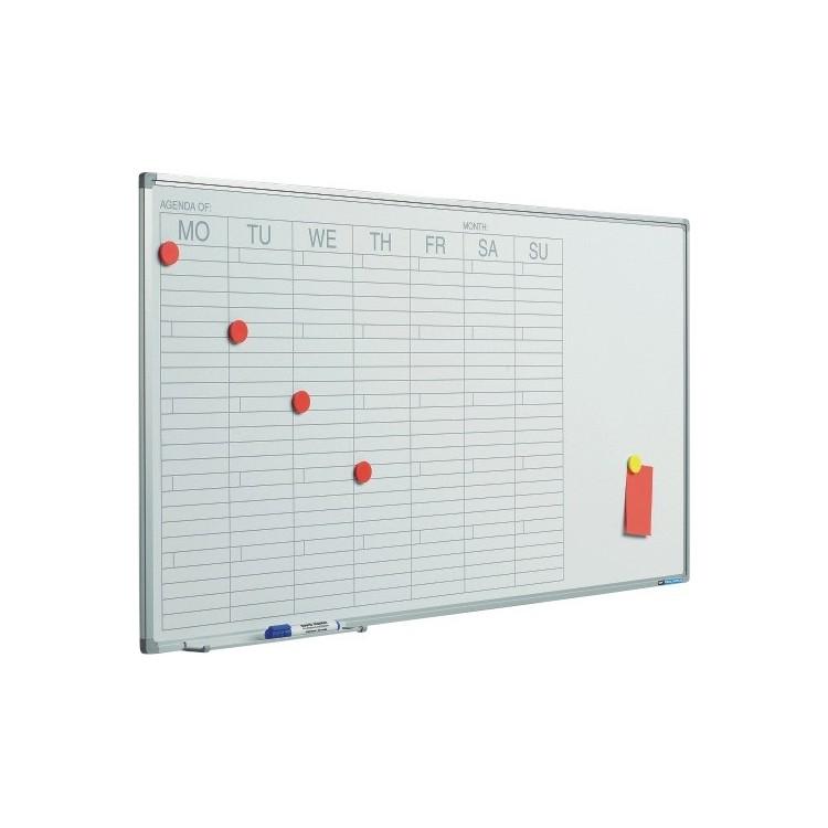 Planificator magnetic saptamanal 60x120cm rama aluminiu, SMIT
