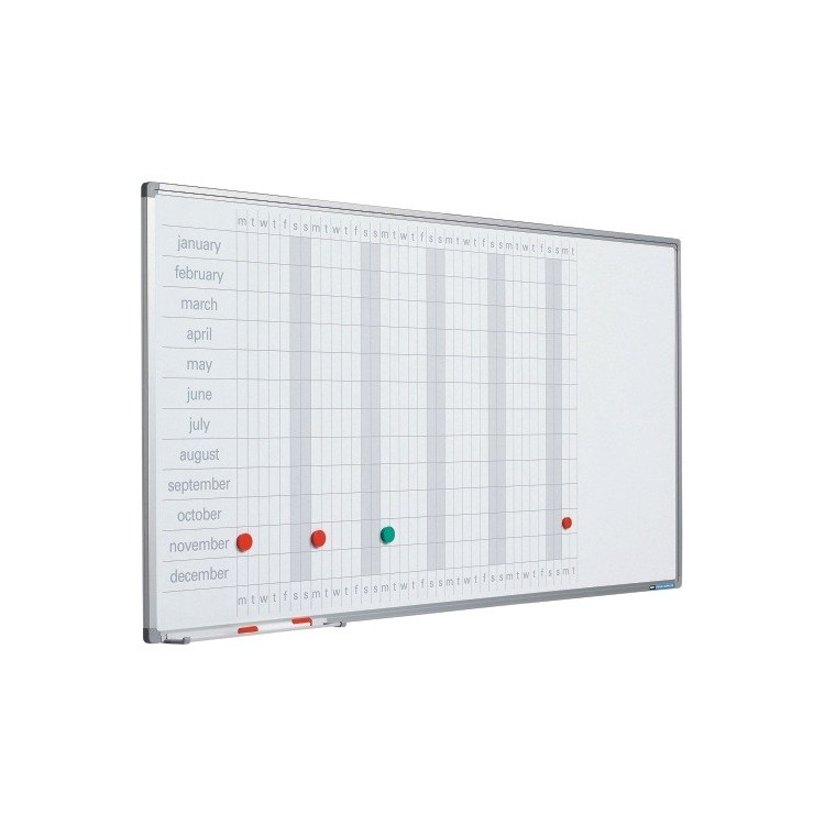 Planificator magnetic anual 60x120cm rama aluminiu, SMIT