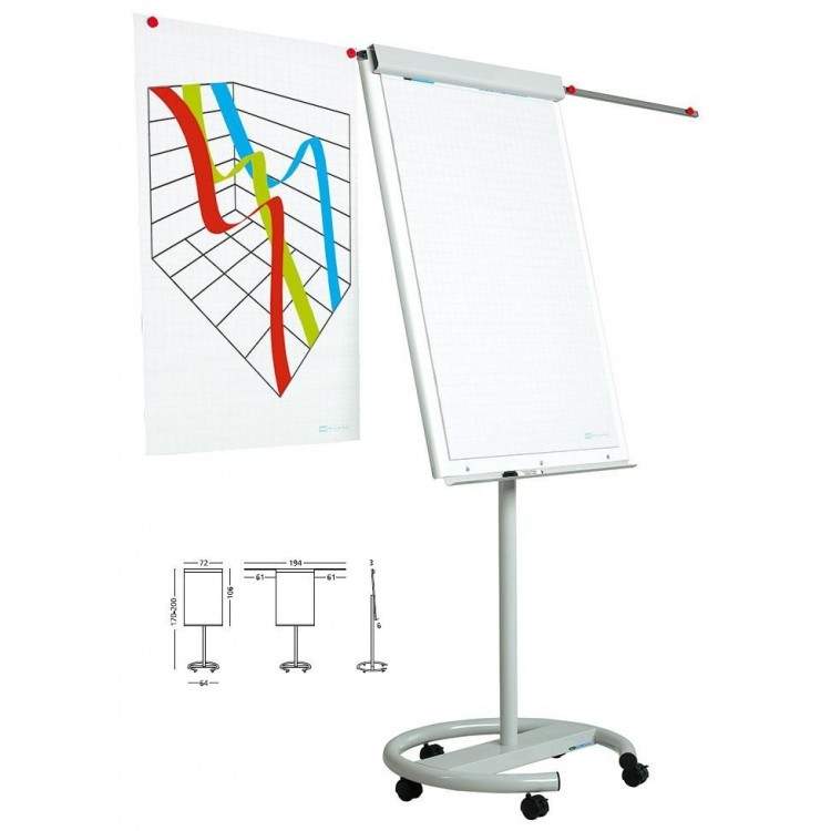 Flipchart magnetic 105x70cm cu brate laterale si rotile, SMIT Vario