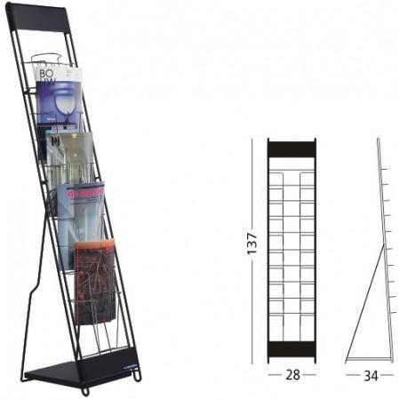 Stand metalic cataloage 10xA4 137x30x23cm negru, SMIT Classic