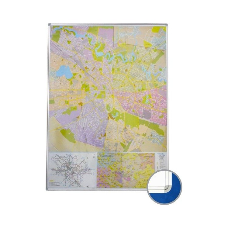Harta magnetica Bucuresti (rutier + administrativa) 140x100cm rama aluminiu