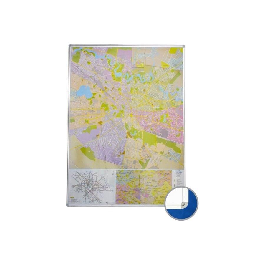 Harta Magnetica Bucuresti Rutier Administrativa 140x100cm Rama