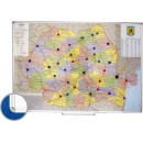 Harta magnetica Romania (rutier + administrativa) 100x140cm rama aluminiu