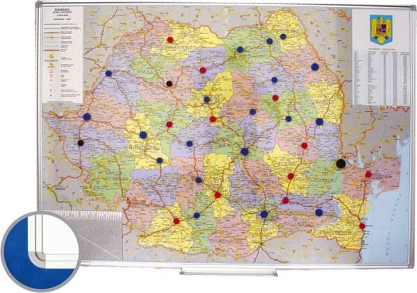Harta Magnetica Romania Rutier Administrativa 100x140cm Rama
