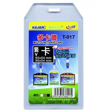 Buzunar ecuson cu dubla fata  PVC transparent  54x85mm vertical 5 buc/set, KEJEA
