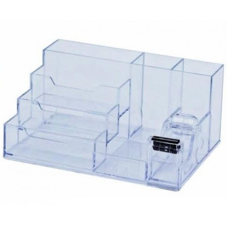 Suport accesorii de birou 6 compartimente 105x85mm transparent, KEJEA