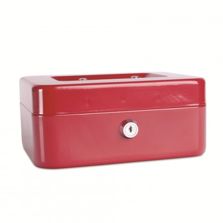 Caseta metalica pentru bani 200x160x90mm rosie, DONAU