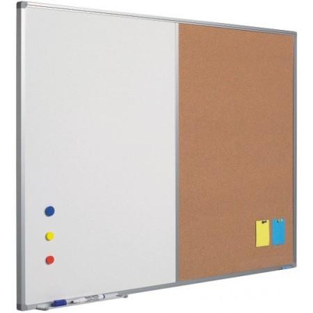 Panou combi (tabla magnetica alba/textil albastru) 90x120cm rama aluminiu, SMIT