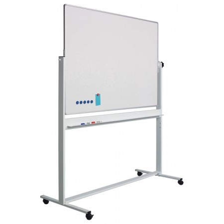Tabla magnetica alba rotativa dubla fata 100x150cm rama aluminiu stand mobil, SMIT