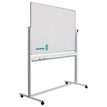 Tabla magnetica alba rotativa dubla fata 100x180cm rama aluminiu stand mobil, SMIT