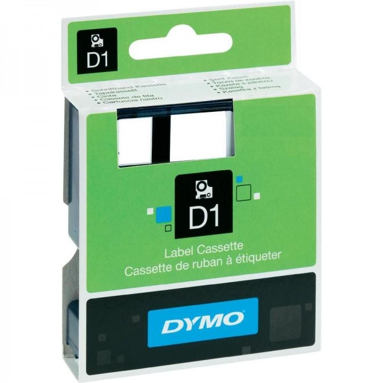 Banda etichetare 6mm x 7m negru/alb, DYMO D1