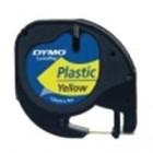 Banda etichetare 12mm x 4m din plastic galbena, DYMO Letratag