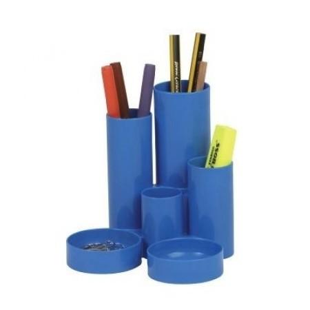 Suport accesorii de birou 6 compartimente cilindrice albastru, FLARO