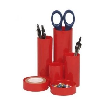 Suport accesorii de birou 6 compartimente cilindrice rosu, FLARO