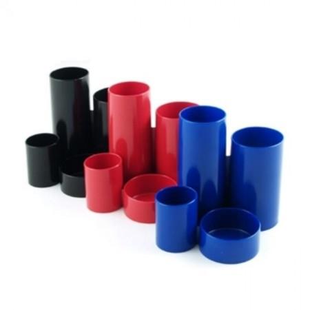 Suport accesorii de birou 4 compartimente cilindrice rosu, FLARO