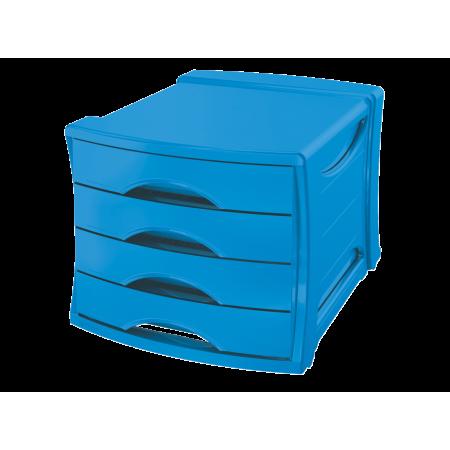 Suport documente cu 4 sertare albastru, ESSELTE Europost Vivida