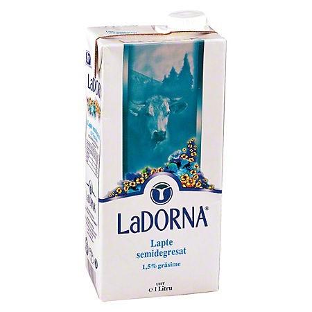 Lapte 1.5% grasime 1 litru 12 buc/bax, LA DORNA UHT
