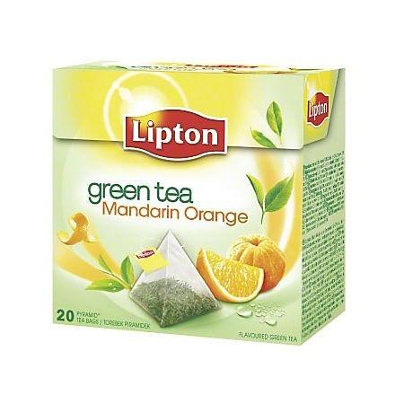 Ceai verde Mandarin Orange 20 pliculete/cut, LIPTON Piramide