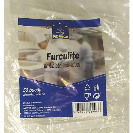 Furculite plastic ambalate individual 50 buc/set, HORECA Select
