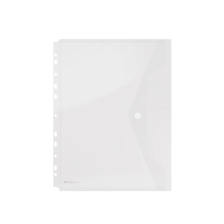 Folie protectie documente A4 cu clapa laterala si capsa 200mic alba transparent, DONAU