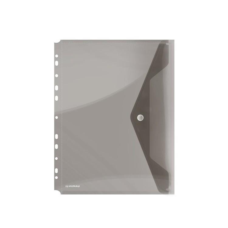 Folie protectie documente A4 cu clapa laterala si capsa 200mic fumurie transparent, DONAU