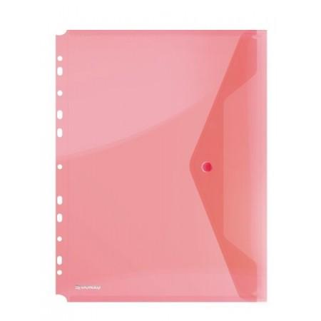 Folie protectie documente A4 cu clapa laterala si capsa 200mic rosie transparent, DONAU