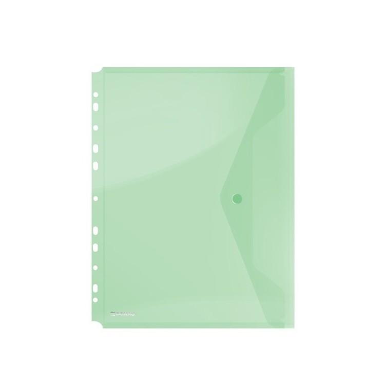 Folie protectie documente A4 cu clapa laterala si capsa 200mic verde transparent, DONAU