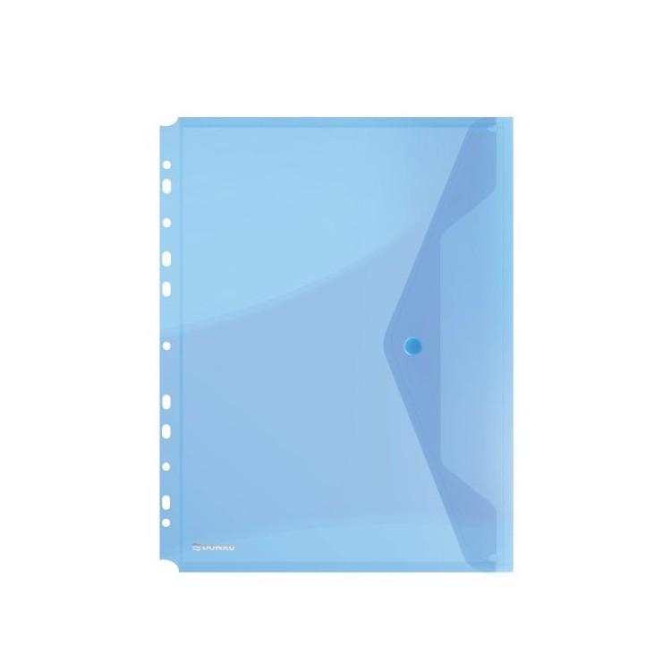 Folie protectie documente A4 cu clapa laterala si capsa 200mic albastra transparent, DONAU
