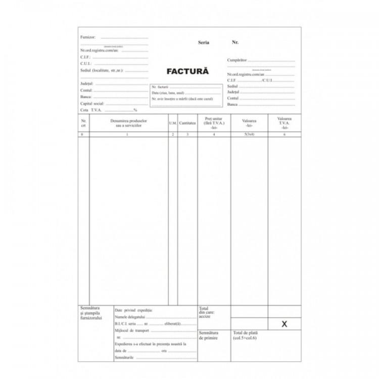 Facturier A4 cu TVA autocopiativ 3 ex.