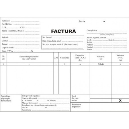 Facturier A5 cu TVA autocopiativ 3 ex.