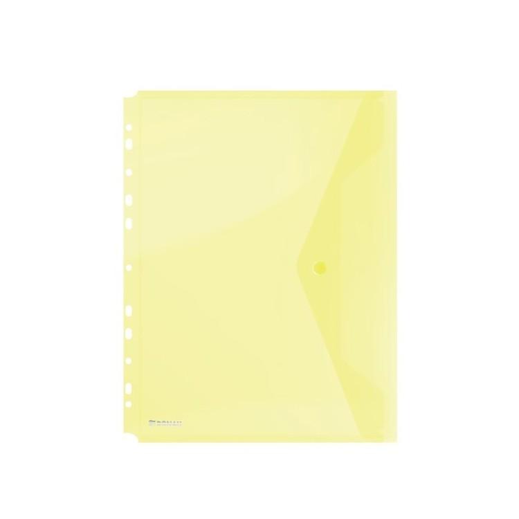 Folie protectie documente A4 cu clapa laterala si capsa 200mic galbena transparent, DONAU
