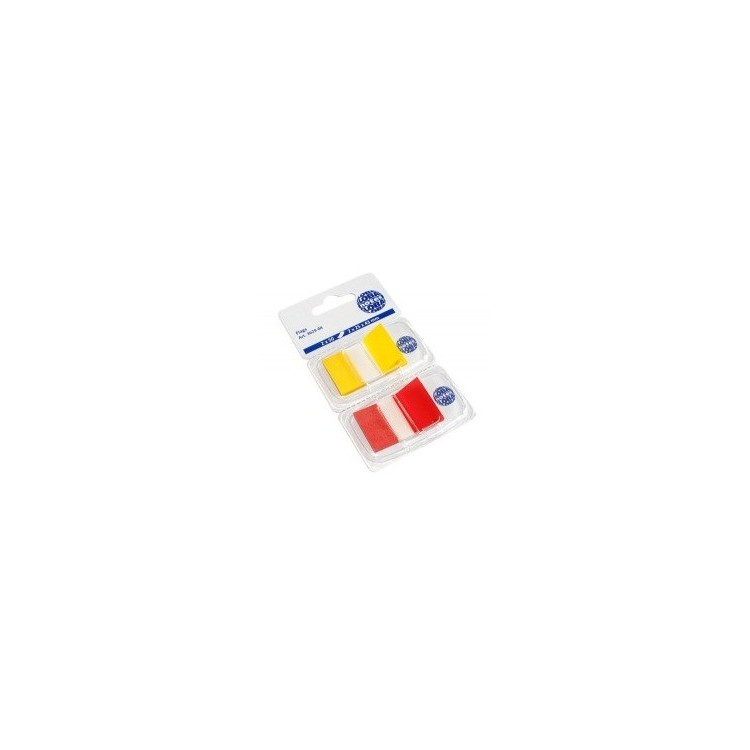 Index adeziv plastic 2x25x43mm 50 file galben-portocaliu, GLOBAL NOTES