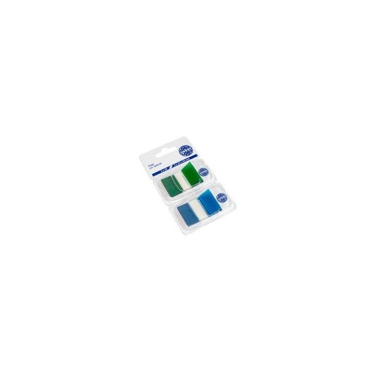 Index adeziv plastic 2x25x43mm 50 file verde-albastru, GLOBAL NOTES