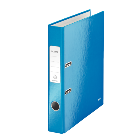 Biblioraft plastifiat 5cm 180° albastru metalizat, LEITZ WoW