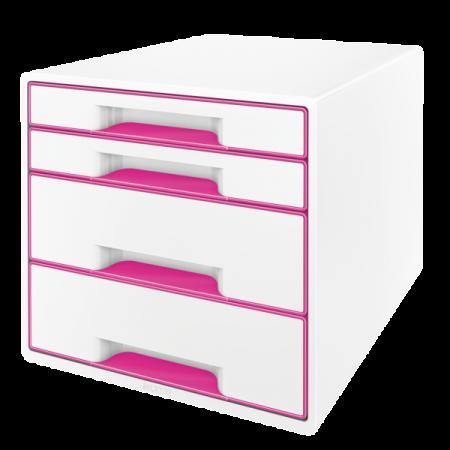 Suport documente cu 4 sertare alb/roz, LEITZ WoW