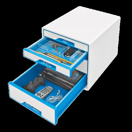 Suport documente cu 4 sertare alb/albastru, LEITZ WoW