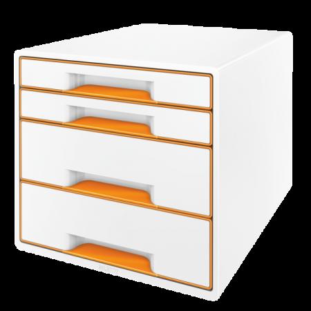 Suport documente cu 4 sertare alb/portocaliu, LEITZ WoW