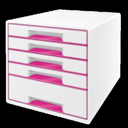 Suport documente cu 5 sertare alb/roz, LEITZ WoW