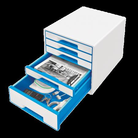 Suport documente cu 5 sertare alb/albastru, LEITZ WoW
