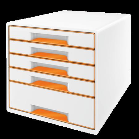 Suport documente cu 5 sertare alb/portocaliu, LEITZ WoW