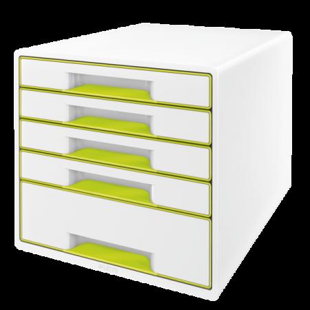 Suport documente cu 5 sertare alb/verde, LEITZ WoW