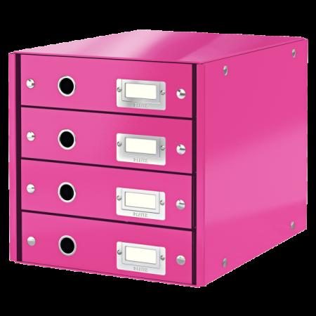 Suport documente cu 4 sertare roz, LEITZ Click & Store
