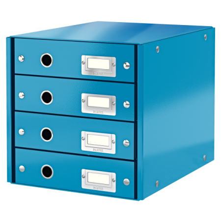 Suport documente cu 4 sertare albastru, LEITZ Click & Store