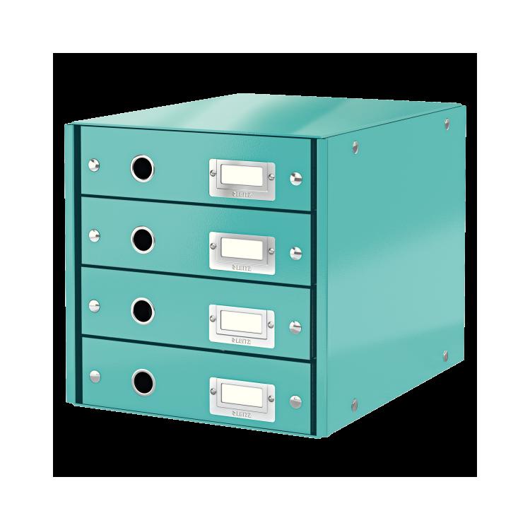 Suport documente cu 4 sertare turcoaz, LEITZ Click & Store