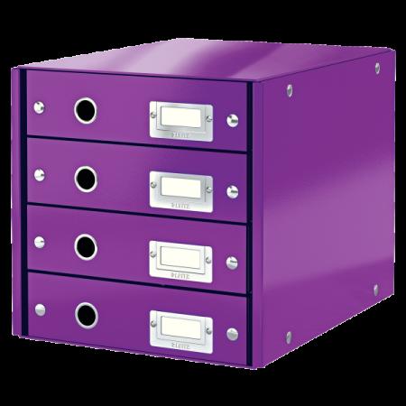 Suport documente cu 4 sertare mov, LEITZ Click & Store