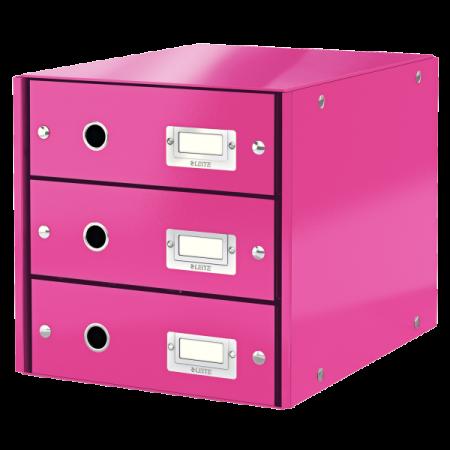 Suport documente cu 3 sertare roz, LEITZ Click & Store