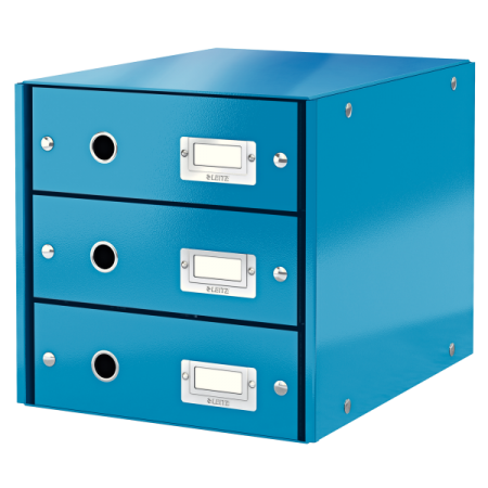 Suport documente cu 3 sertare albastru, LEITZ Click & Store
