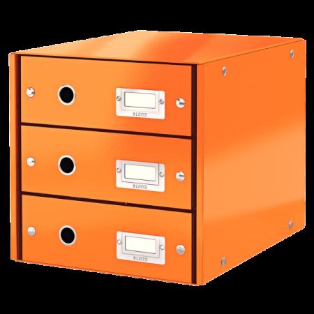 Suport documente cu 3 sertare portocaliu, LEITZ Click & Store